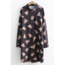 Cute Allover Bear Cartoon Pattern Point Collar Long Sleeves Button Down Tunic Shirt