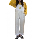 Childish Smiley Face Pattern Fur Patchwork Contrast Trimmed Wide Leg Overall Pants