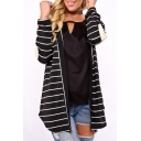 Popular Striped Pattern Applique Long Sleeve Leisure Cardigan