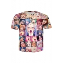 Japanese Anime Style Cartoon Printed Round Neck Short Sleeves Tee