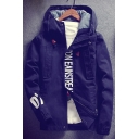 Simple Letter Pattern Long Sleeves Zippered Hooded Drawstring Jacket