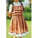 Lovely Deer Print Ruffle Hem Cami Swing Mini Dress