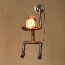 Industrial 7.87''W Pipe Wall Sconce in the Shape of Robot, Bronze