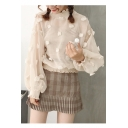 Elegant Floral Pattern Balloon Sleeves High Neck Ruffle Trimmed Mesh Blouse with Vest