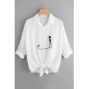 Summer Casual Point Collar Turn-up Long Sleeves Button Down Cat Embroidery Bow Shirt
