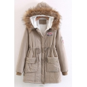 Fashion Badge Embellished Faux Fur Hem Hooded Long Sleeve Zip Up Coat