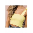 Cute Elastic Ruffly Falbala Trimmed Bow Straps Cropped Cami