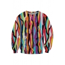 Stylish Striped Oil-Painting Printed Round Neck Long Sleeves Pullover Sweatshirt