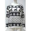 Christmas Deer Print Round Neck Long SLeeve Pullover Sweatshirt