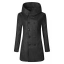 Chic Simple Plain Double Breasted Long Sleeve Trench Coat