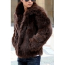 Fashionable Lapel Collar Long Sleeve Faux Furry Coat with Pockets