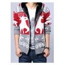 Fashionable Winter Snowflake Deer Pattern Long Sleeves Fur Padded Zip-up Hooded Cardigan
