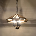 Industrial 3 Light Chandelier with Rope Shade in Vintage Style