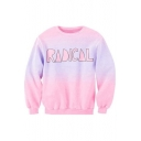 Fashion Tie-Dye Letter Print Long Sleeve Round Neck Pullover Sweatshirt