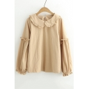 Girlish Peter-Pan Collar Balloon Ruffly Sleeves Single Button Back Pullover Loose Blouse