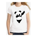 Simple Dancing Panda Pattern Round Neck Short Sleeves Slim-Fit Tee