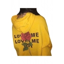 Stylish Floral Letter Printed Long Sleeves Pullover Hoodie with Drawstring