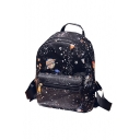 Popular Starry Sky Polka Dot Galaxy Planet Printed Backpack School Casual Bag with Zippers