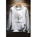Simple Tree Print Round Neck Long Sleeve Joker Leisure Pullover Sweatshirt