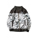 New Stylish Ink Painting Print Zippered Long Sleeve Jacket with Pockets