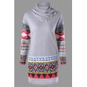 Ethnic Tribal Pattern Color Block Button Turtleneck Bodycon Mini Sweatshirt Dress