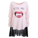 Stylish Teeth Mouth Letter Printed Round Neck Mesh Patchwork Hem Mini Sweatshirt Dress