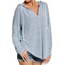 Chic V-Neck Long Sleeve Drawstring Hood Plain Loose Tee