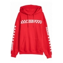 Fashion Plaid Letter Print Long Sleeve Dropped Shoulder Hoodie