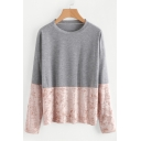 Casual Velvet Patchwork Round Neck Long Sleeves Pullover T-shirt