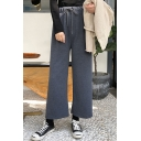 Simple Plain Drawstring Waist Wide Leg Pants