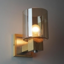 Industrial Wall Sconce with Cylinder Glass Shade and Wooden Canopy