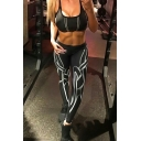 New Trendy Print Elastic Waist Skinny Yoga Pants