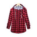 Classic Plaid Print Long Sleeve Button Down Hooded Shirt