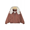Fashion Contrast Hood Zip Up Dropped Ruffle Back Shoulder Coat