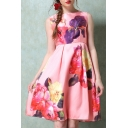 Fashion Floral Print Round Neck Midi A-line Dress