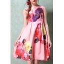 Fashion Floral Print Round Neck Midi A-line Dress