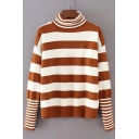 Trendy Turtleneck Long Sleeves Striped Pattern Ribbed Knitted Pullover Sweater