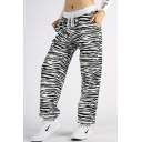 New Fashion Zebra Pattern Drawstring Waist Sports Pants