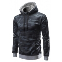 Casual Camouflaged Pattern Long Sleeves Pullover Hoodie with Pocket