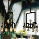 Industrial Vintage 5 Light Pipe Chandelier in Aged Bronze Finish