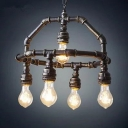 Industrial 5 Light Chandelier 15''W in Pipe Style, Rust