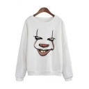 New Fashion Clown Print Round Neck Long Sleeve Pullover Sweatshirt