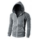 Men's Fashion Simple Plain Long Sleeve Zip Up Hoodie