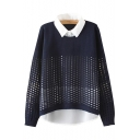 Chic Color Block Print Fake Two-Piece Long Sleeve Pullover Sweater