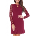Chic Lace Panel Round Neck Keyhole Front Long Sleeve Ruffle Hem Plain Dress