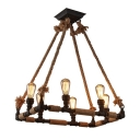 Industrial 28''W Chandelier with Rope in Open Bulb Style, 6 Light