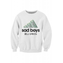 Chic Letter Print Long Sleeve Round Neck Unisex Pullover Sweatshirt