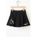 Cute Rabbit Cartoon Letter Printed Attached Lacing Back Box-Pleat Mini Skirt