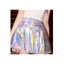 New Stylish Plain Laser A-Line Pleated Mini Skirt