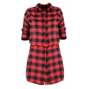 Chic Plaid Lapel Single Breasted Tie Waist Long Sleeve Mini Shirt Dress
